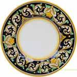 Ceramic Majolica Plate - Ornato Black NC 42cm