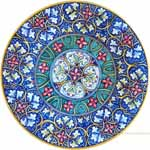 Majolica Plate - Blue Green Fleur De Lis 30cm