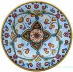 ceramic majolica plate light blue flower 20cm