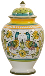 Italian Ceramic Centerpiece Urn - Lovers Peacocks