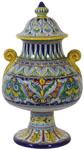 Italian Ceramic Pedestal Centerpiece Urn - Geometrico