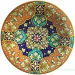 Ceramic Majolica Plate Geometrico Orange Green