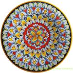 Ceramic Majolica Plate Flower Red 739 30cm