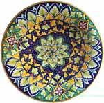 Ceramic Majolica Plate Star Blue Green 25cm