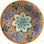 Ceramic Majolica Plate Sunburst Orange