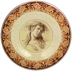 Ceramic Majolica Plate Figure Botticelli Terra Cotta 42cm