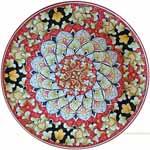 Majolica Plate - Red/Black Fleur De Lis 30cm