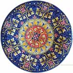 Majolica Plate - Red/Blue Fleur De Lis 30cm
