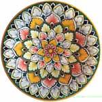 Ceramic Majolica Plate Snowflake Orange White Green 20cm