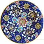 Majolica Plate - Red/Blue Star Geometrico 30cm