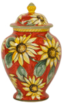 Italian Ceramic Centerpiece Urn - Red Sunflowers