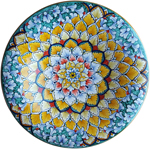 Ceramic Majolica Plate - Snowflake Orange Green