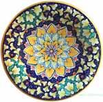 Ceramic Majolica Plate Orange Blue Green Snowflake 25cm