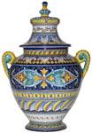 Italian Ceramic Centerpiece Handled Urn - Geometrico