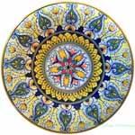 Ceramic Majolica Plate Star Green Yellow