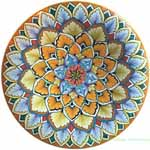 Ceramic Majolica Plate G12 Light Blue Snowflake 25cm