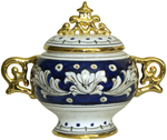 Covered Bowl/Urn - Blue and Gold Handled Petit