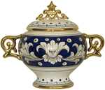 Covered Bowl/Urn - Blue and Gold Handled Small