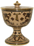 Urn - Pisside Brown and Creme Oro - Gold  with Cross