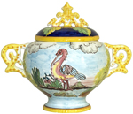 Covered Bowl/Urn - Stork/Crane Bird Style Handled Small
