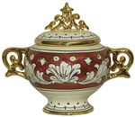 Covered Bowl/Urn - Ruby and Gold Handled Small