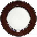 Italian Charger Plate - Black Border Solid Brown Cafe