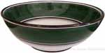 Italian Dessert/Soup Bowl - Black Rim Solid Emerald Green