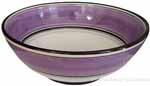 Italian Dessert/Soup Bowl - Black Rim Solid Purple - Viola