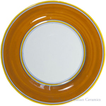 Italian Dinner Plate Yellow Rim Solid Orange