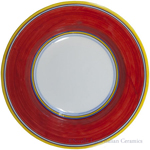 Deruta Italian Pasta Plate - Yellow Border Solid Red