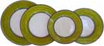 Italian Dinner Place Setting - Black Border Solid Meadow Green - Prato