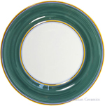 Deruta Italian Salad Plate - Yellow Rim Solid Green