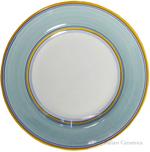 Deruta Italian Salad Plate - Yellow Rim Solid Teal