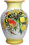 Deruta Italian Ceramic Vase - Pomegranates and Lemons