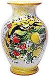 Deruta Italian Ceramic Vase - Strawberries and Lemons