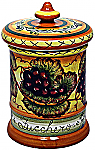 Ceramic Majolica Sugar Jar Tuscan Grapes 20cm