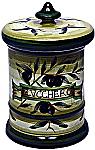 Ceramic Majolica Sugar Jar Tuscan Green Olive 20cm