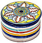 Ceramic Maiolica Covered Snowflake Flower Cylinder Box 6cm