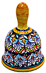 Ceramic Maiolica Christmas Dinner Bell Blue Deruta Ricco